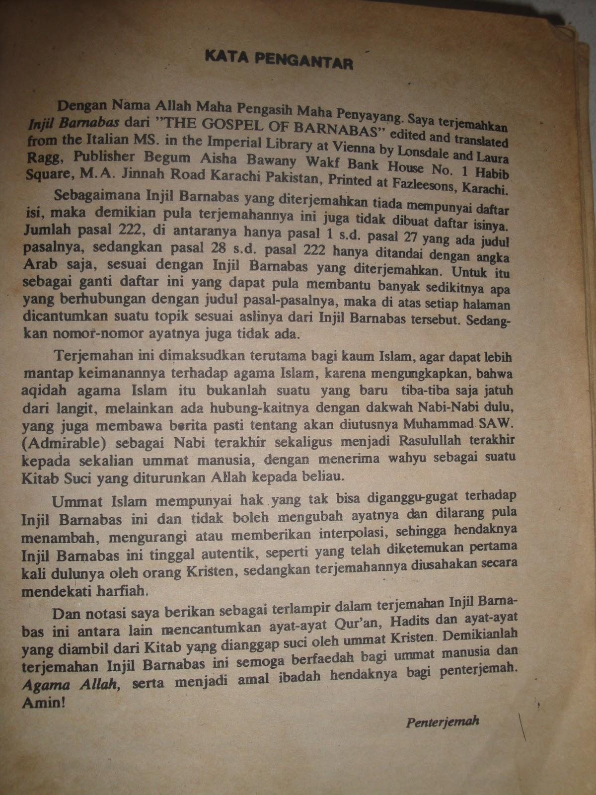 Terjemahan Injil Barnabas Pdf