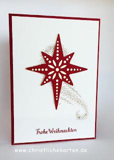 Stampin Up Weihnachtskarte mit Stempelset Weihnachtsstern und Framelits Sternenzauber