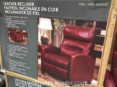 Costco 1041161 - Synergy Home Leather Recliner: great for your living room or family room