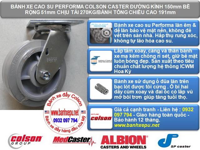 Bánh xe cao su đặc xoay phi 150 Colson chịu lực 270kg | 4-6109-459 www.banhxedaycolson.com
