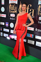 Meenakshi Dixit in Red One Shoulder Red Zipped up gown at IIFA Utsavam Awards005.JPG