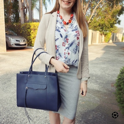 @awayfromblue instagram spring office outfit jersey pencil skirt blazer button up tank blue MAB tote