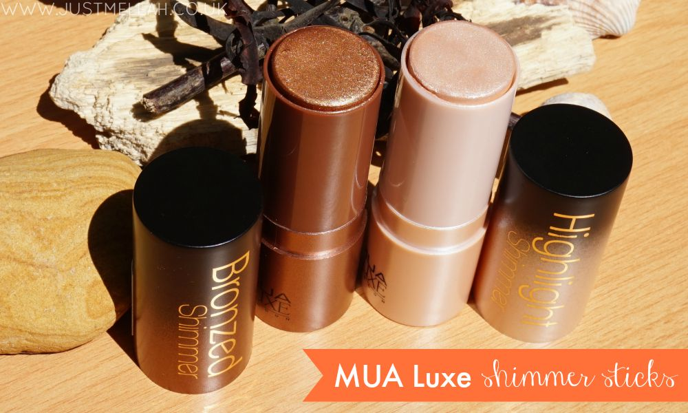 MUA Luxe shimmer stick bronzer and highlight swatches