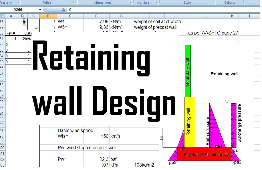 Reinforced concrete retaining wall design xls Civil engineering