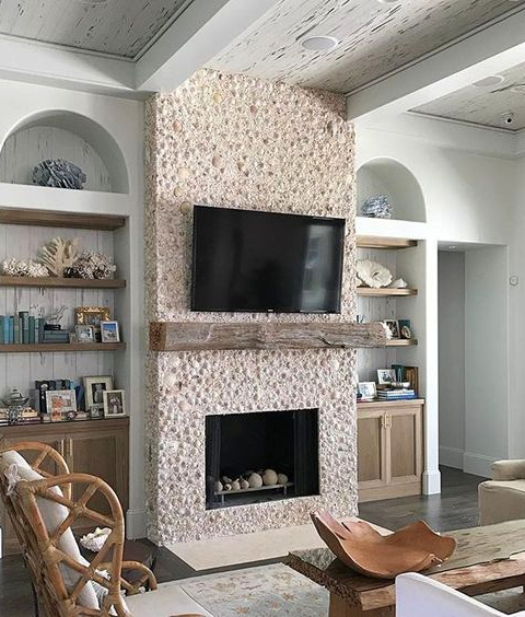 Sea Shell Mosaic Fireplace Ideas