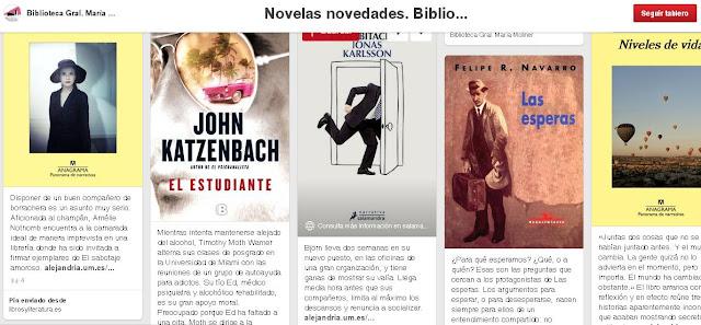 Novelas novedades, en Biblioteca General María Moliner.