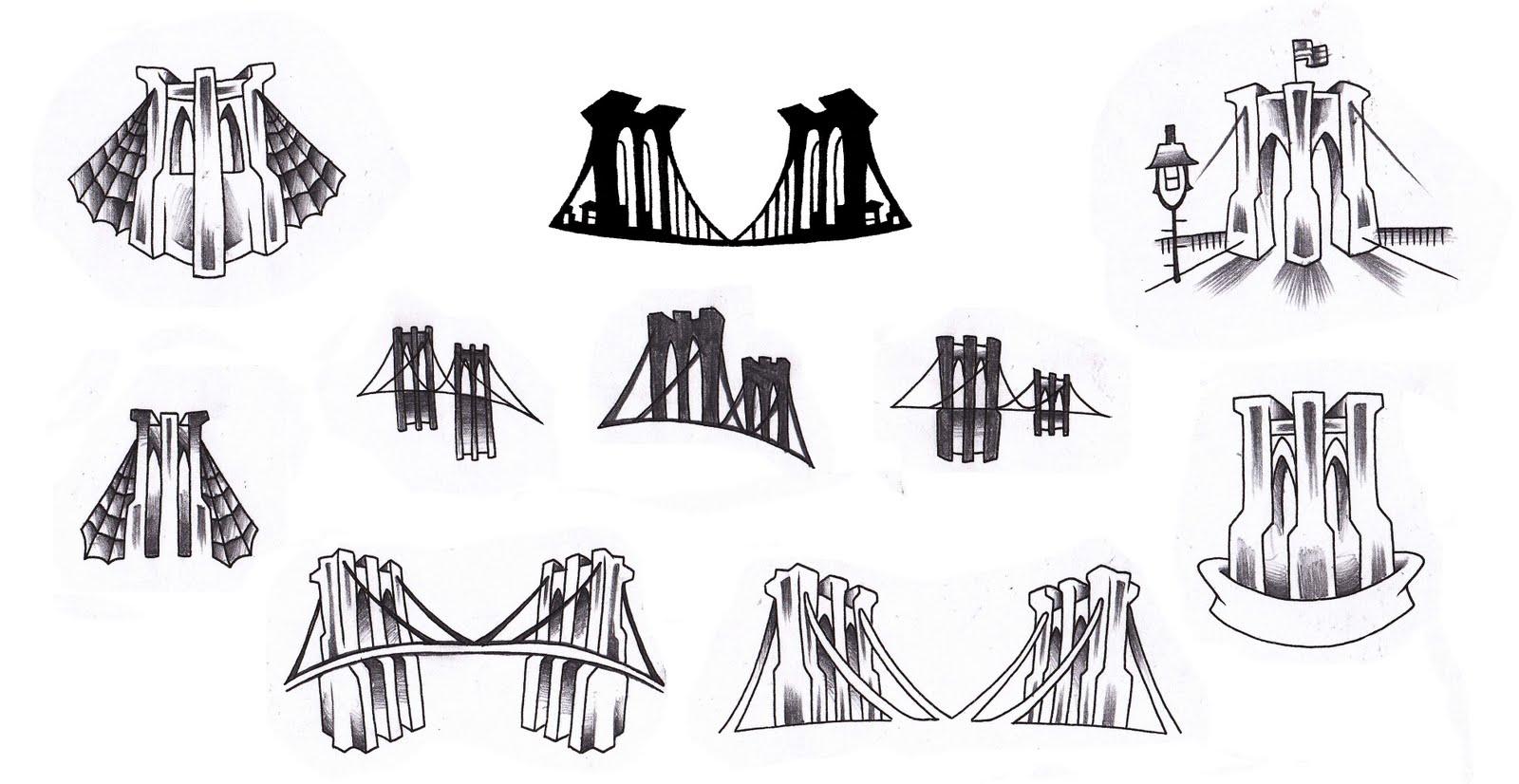 Urban folk art some of the bridge designs for this sunday for Brooklyn tattoo ideas