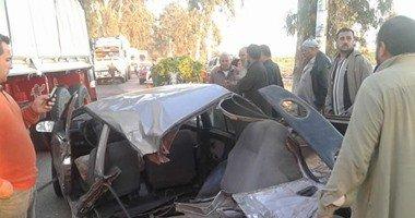اصابة شقيق الاعلامية سلوى عبد الهادى اثر حادث تصادم بالطريق الصحراوى