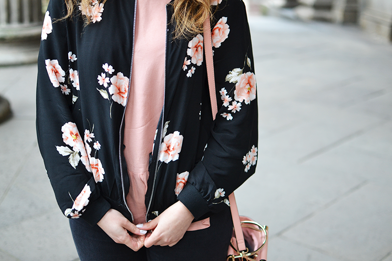 Nobody's Child Floral Bomber Review How To Style | Colours and Carousels - Scottish Lifestyle, Beauty and Fashion blog