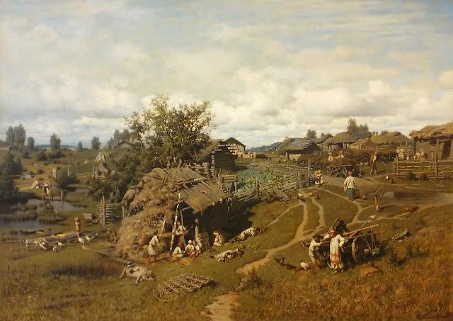 П.А. Суходольский Полдень в деревне (Деревня Желны Калужской губернии Масальского уезда), 1864 г.