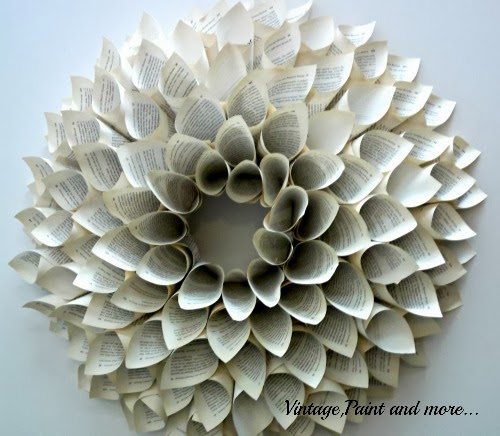 Book Page Wreath Tutorial - finished large size wreath