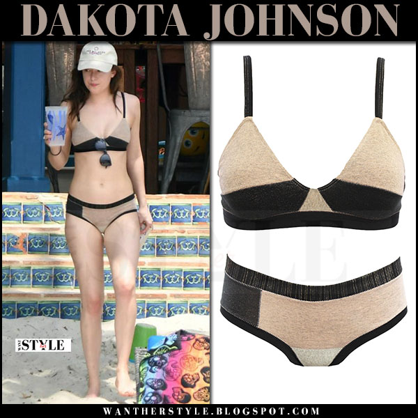 Dakota Johnson in two tone bikini xirena what she wore april 2017