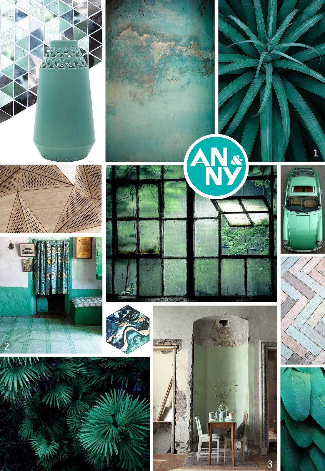 Bruin En Turquoise Interieur Anny And Moodboard Small Triangles By Douwe