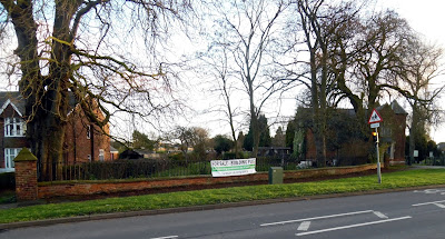 The building plot for sale close to the Cemetery Lodge in Brigg - January 2019. See Nigel Fisher's Brigg Blog