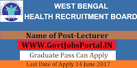 West Bengal Health Board Recruitment 2017– Lecturer