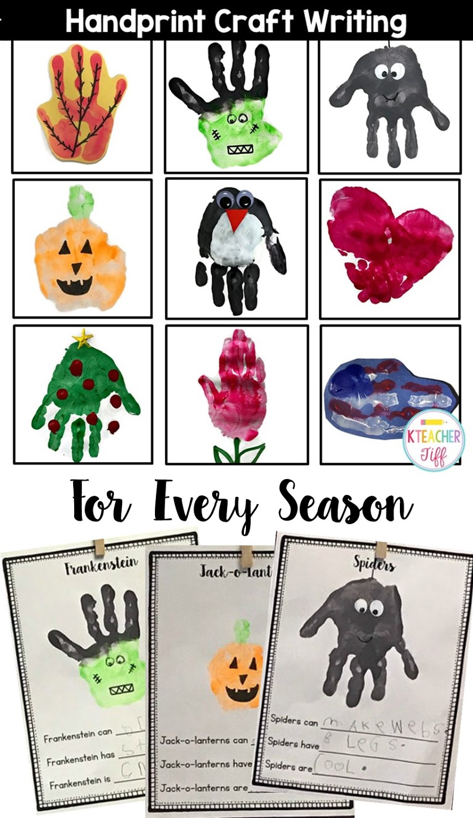 Calendar Art Ideas For Teachers : Seasonal and holiday handprint writing in kindergarten