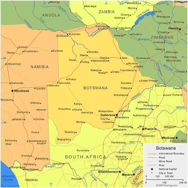 Gambar Peta Wilayah Negara Botswana HD