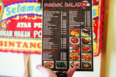 Menu di Pondok Balado, Pontianak