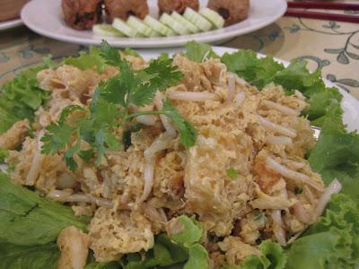 Bangkok, Chandrphen Restaurant, fish maw eggs bean sprouts