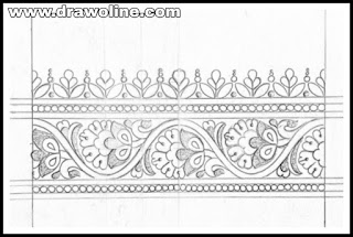 Embroidery saree border designs pencil sketch on tracing paper, simple flower border Drawing on pencil sketch for hand work saree designs.