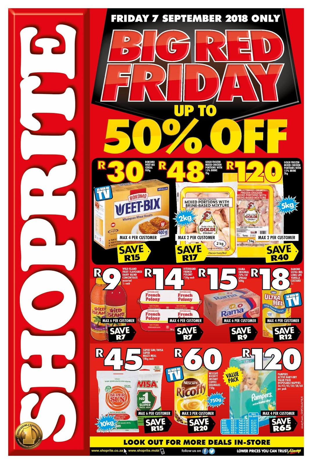 Browse Shoprite's latest specials and promotions at your nearest store for extra low prices on everyday groceries, household goods and much more.