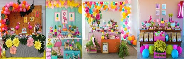 decoração de festa com falmingos