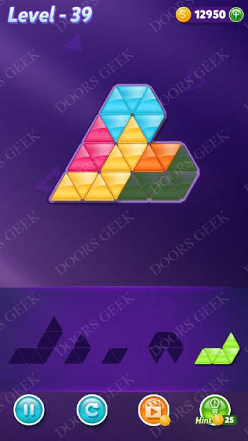 Block! Triangle Puzzle 5 Mania Level 39 Solution, Cheats, Walkthrough for Android, iPhone, iPad and iPod