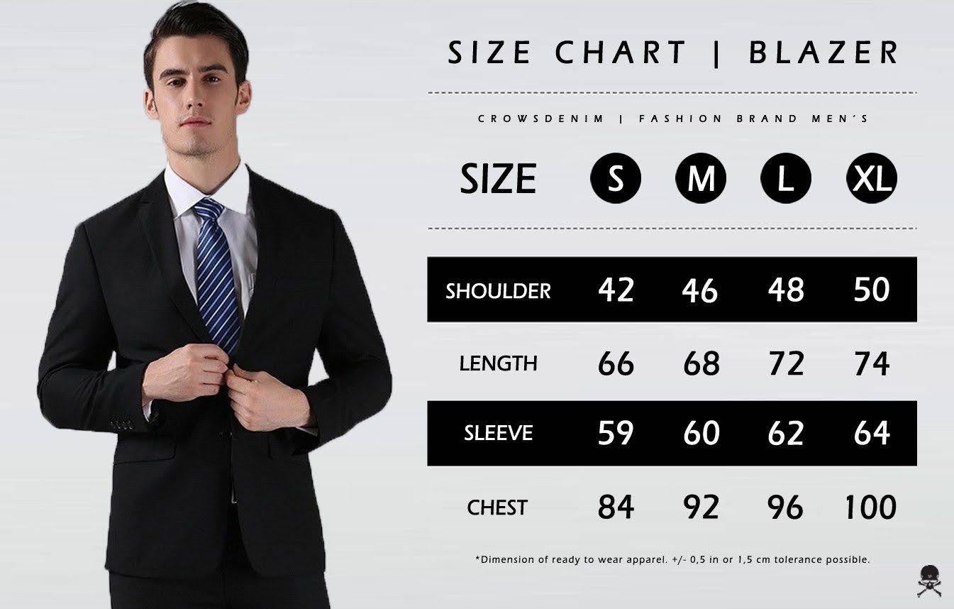 ukuran blazer size chart