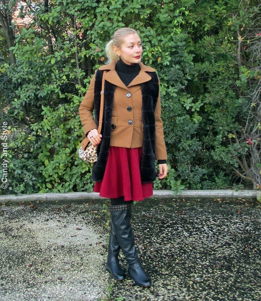 FauxFurVest+CamelJacket+WineRedSkaterSkirt+Overknees+LeopardBag+HighPonytail+WineRedLips - Lilli Candy and Style Fashion Blog