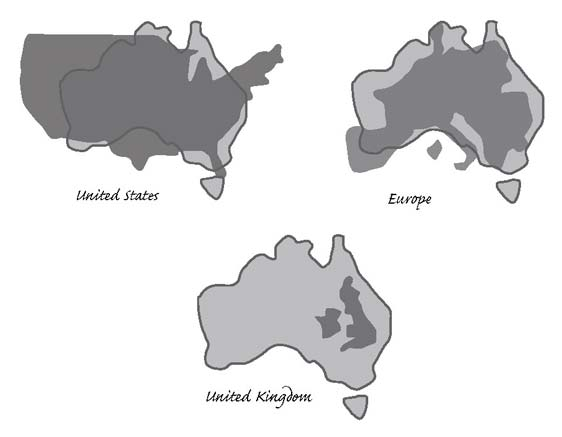 australia covers over 7600000 square kilometres while the usa covers just over 7800000 square kilometres