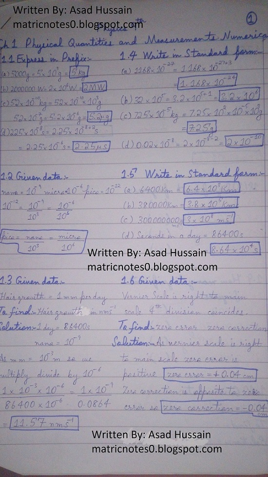 Matric 9th Physics Notes Chapter 1 Numerical Asad Hussain