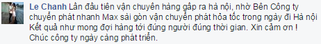 Ý kiến phản hồi từ  Le Chanh về chuyển phát nhanh giá rẻ Max sài gòn