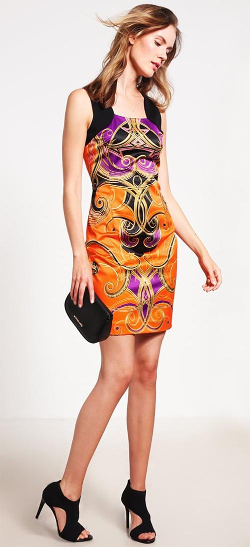 Robe courte soirée colorée Versace Jeans
