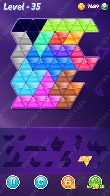 Block! Triangle Puzzle Champion Level 35 Solution, Cheats, Walkthrough for Android, iPhone, iPad and iPod