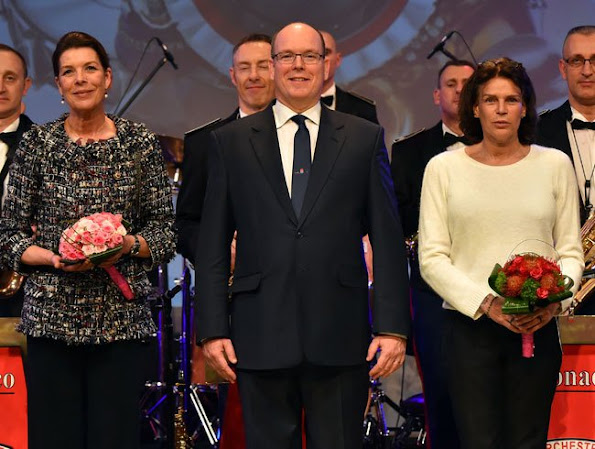 Prince Albert of Monaco and his sisters Caroline, Princess of Hanover and Princess Stéphanie of Monaco attended celebrations of 50th anniversary of the Police Orchestra, style, jewelery, diamond earrings, wedding dress, wedding diamond, fashion