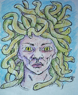 Illustration from How to Draw Medusa lesson