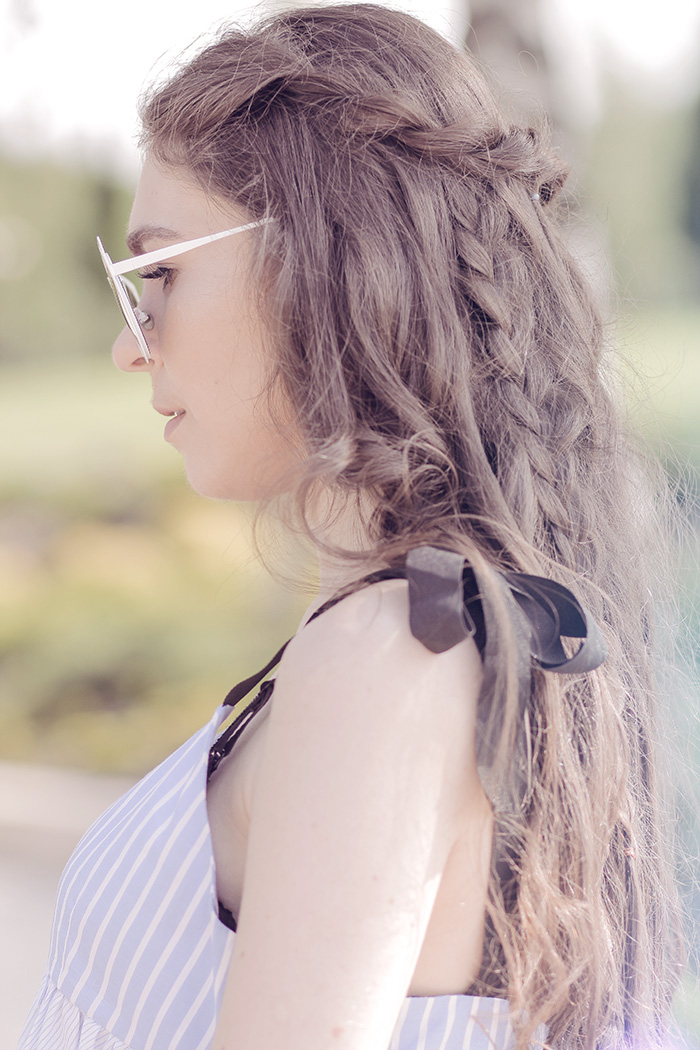 pilot sunglasses, sunglasses, top, summer, zara, longhair, hair, curlyhair, braid, zaful