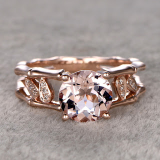 8mm Round Cut Morganite Engagement Ring Diamond Wedding Ring 14k Rose Gold Unique Bamboo Leaf Design