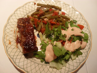 Meatloaf, Salad, and Green Beans