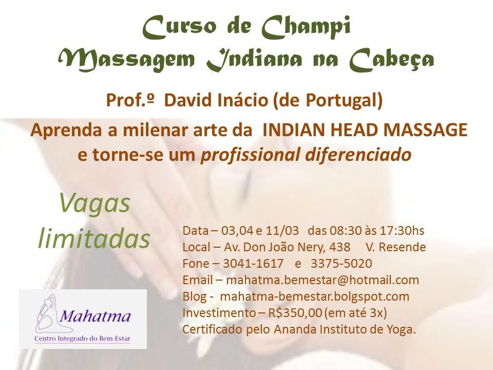 Mahatma Bem Estar  Curso de Massagem Indiana na Cabeça. babb4446e1c8