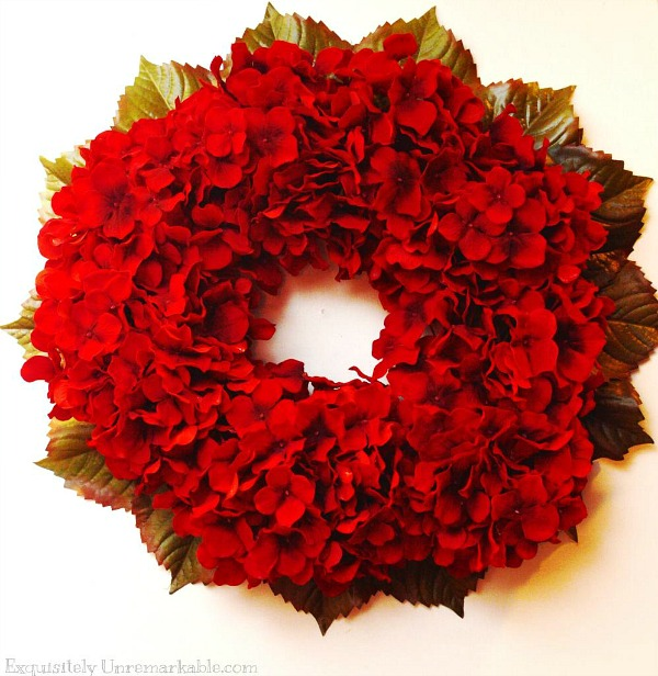how to make a diy red hydrangea wreath