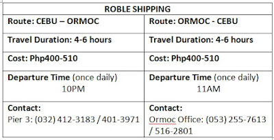 Roble shipping schedule, fare rates cost duration travel time cebu ormoc