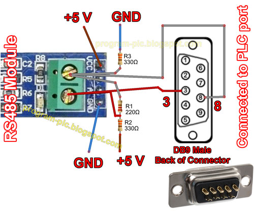 Connections between RS485 Module and PLC