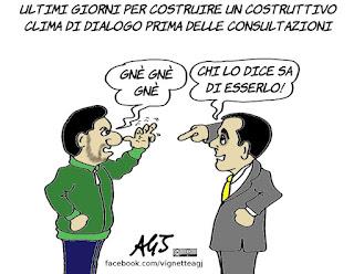 salvini, di maio, dialogo, consultazioni, maggioranza, governo, incarico, politica, vignetta, satira