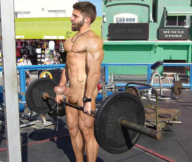 deadlift young bodybuilder cumming in public