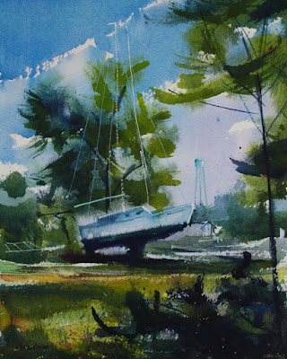 A painting of a sail boat at Olcott NY