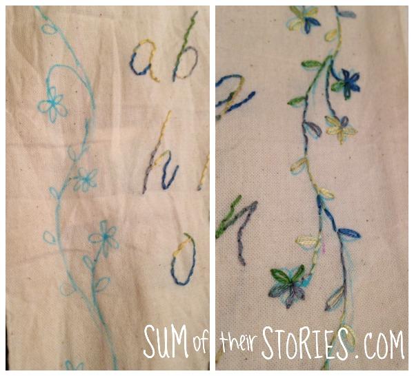 Embroidered Sampler Effect Drawstring Bag