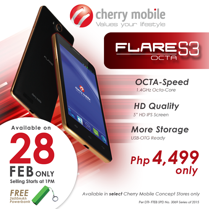 Cherry Mobile Flare S3 Octa Specs, Price and Availability