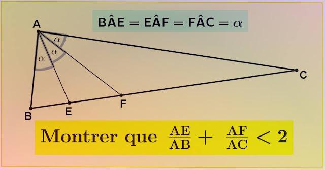 بين أن  ( AE/AB + AF/AC ) أصغر من 2 !! اضغط على الصورة للمزيد من التفاصيل