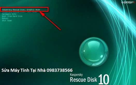 Bấm chọn Kaspersly Rescue Disk, Graphic Mode